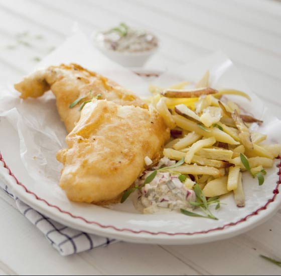 Beer battered Fish and Chips with Tartare Sauce